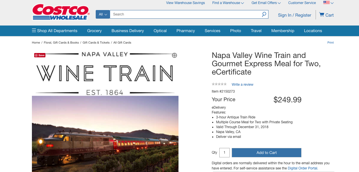 2018 Napa Valley Wine Train coupon costco discount deal gift certificate e-certificate